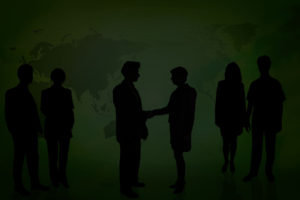 image of people meeting in front of a green world map as if they met online