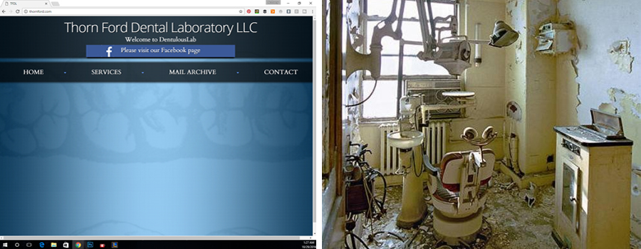 nad website equals bad business, bad business website on the left and a decrepit dentist office on the right