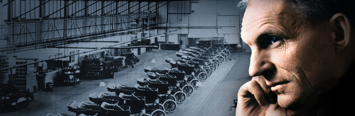 henry ford, make or break you attitude, picture of henry ford with a row of cars in the back ground