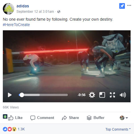 screen shot from the adidas facebook page showing a post example about following your destiny