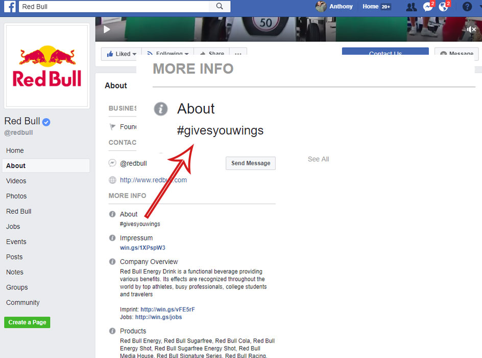 facebook business page for redbull, screen shot of the red bull facebook page about section showcasing the business info about section with the hashtag givesyouwings