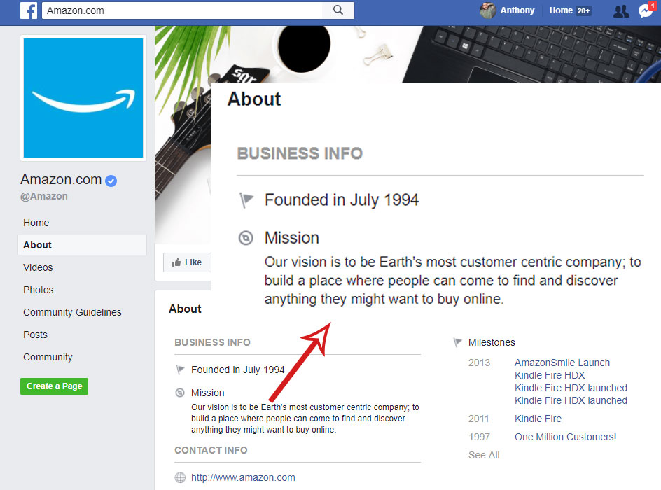 facebook business info for amazon facebook page, screen shot of the amazon facebook page with an arrow pointing to a zoomed in section of the business info
