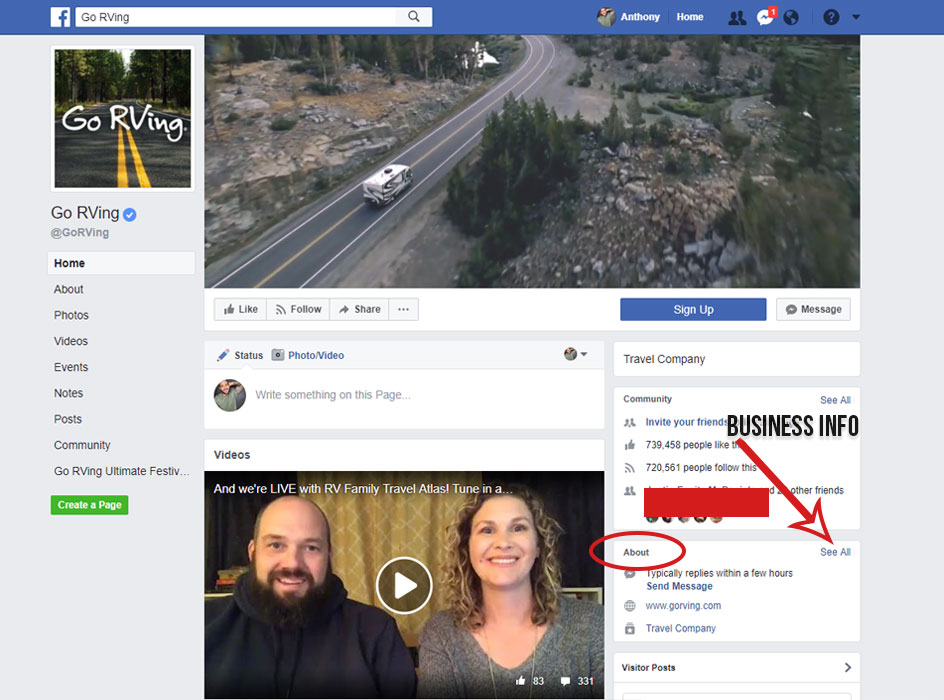 facebook page business info, picture of the go rving facebook page with the words business info and an arrow pointing to the see all button and a circle around the about section