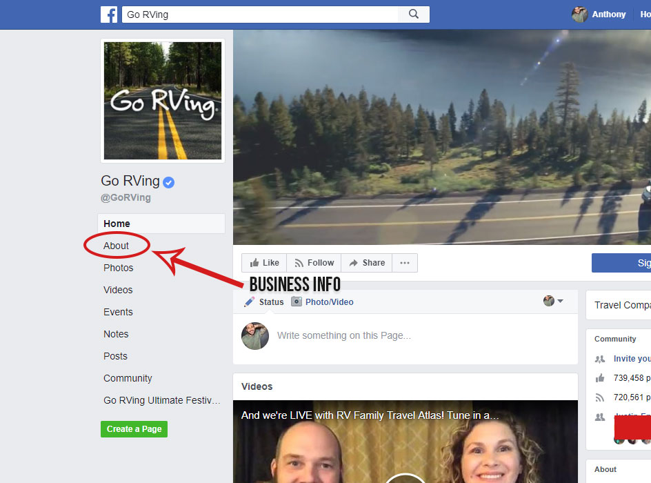 facebook business info section, picture of the go rving facebook page with a red circle around the about tab underneath the facebook profile image with a red arrow pointing to it and the words business info