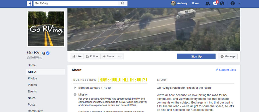 facebook business info section for go rving facebook page, a screen shot of go rvings facebook page with the business info showing and yellow words that say how should i fill this out next to it