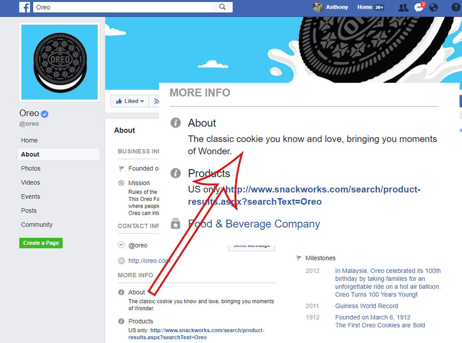 facebook business page about section, screen shot of the oreo facebook page about section with a zoomed in section showcasing the about section