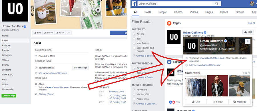 facebook business page about section, picture showing urban outfitters facebook about section and how it shows up when you hover over the urban outfitters name in a facebook search, how to fill out the facebook about section