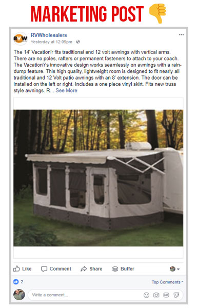 screen shot of the rv wholesalers facebook page post about a 14 ft vacation camper awning marketing post vs social post