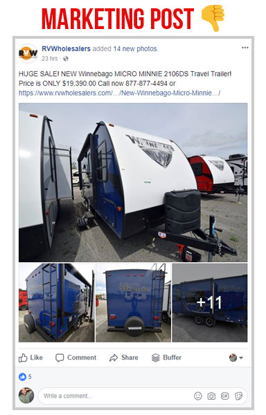 screen shot of the rv wholesalers facebook page post about a sale on winnebago micro minnie travel trailers, marketing post vs social post example