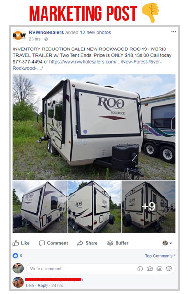 facebook marketing post with the screen shot status of rv wholesalers facebook status about a rockwood roo rv travel trailer for sale