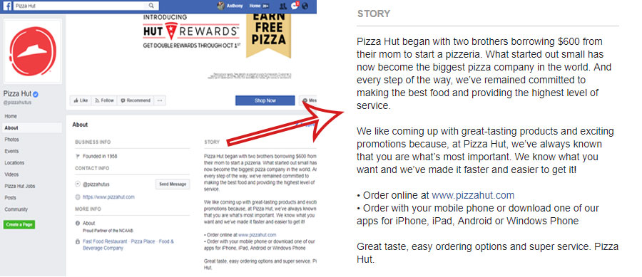facebook story, screenshot of the pizza hut facebook page with a zoomed in look at the story for pizza hut in the company about section