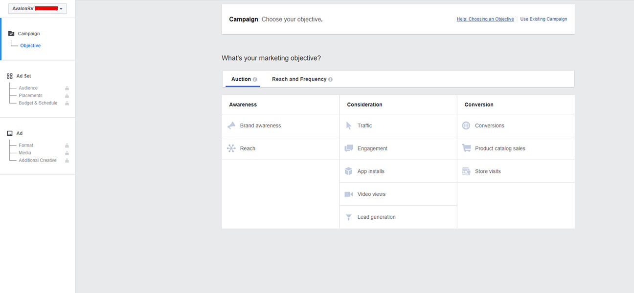 screen shot of the back end of facebook for creating a business ad in the facebook business manager