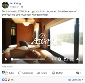 screen shot of a facebook post from the go rving facebook page