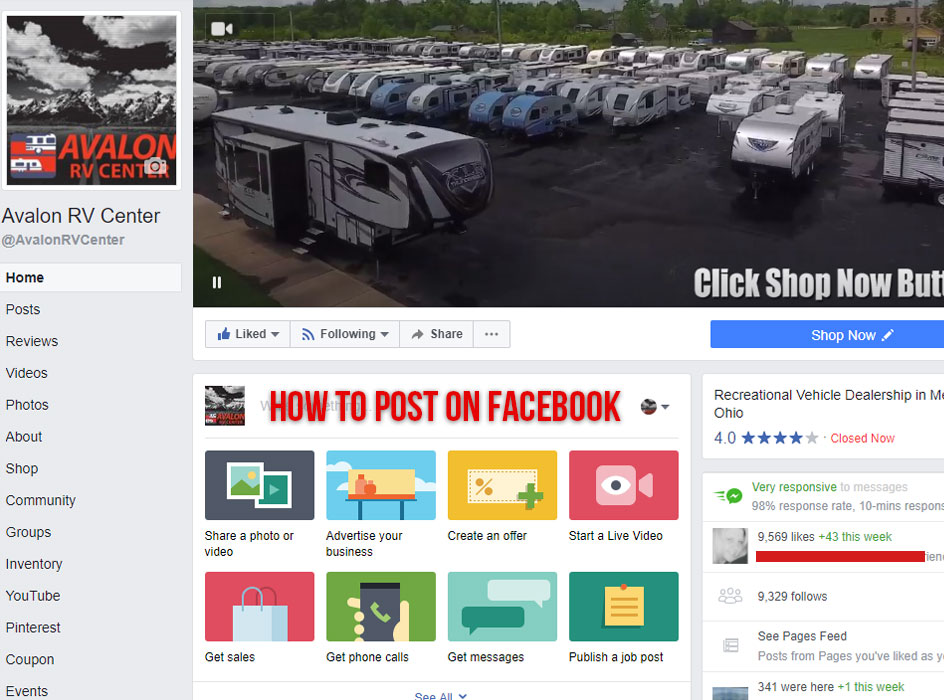 how to post on your facebook page, screen shot of the avalon rv center facebook page with the words how to post on facebook inside of the status box
