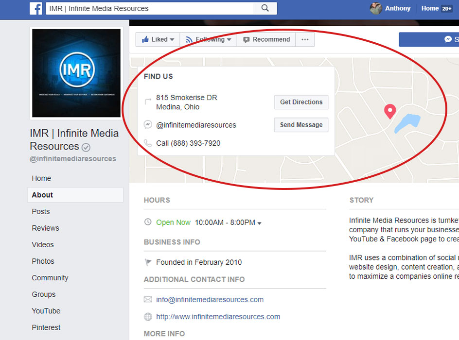 infinite media resources facebook page contact information, a screen shot of the infinite media resources about section on the facebook page with a circle around the contact information and map at the top