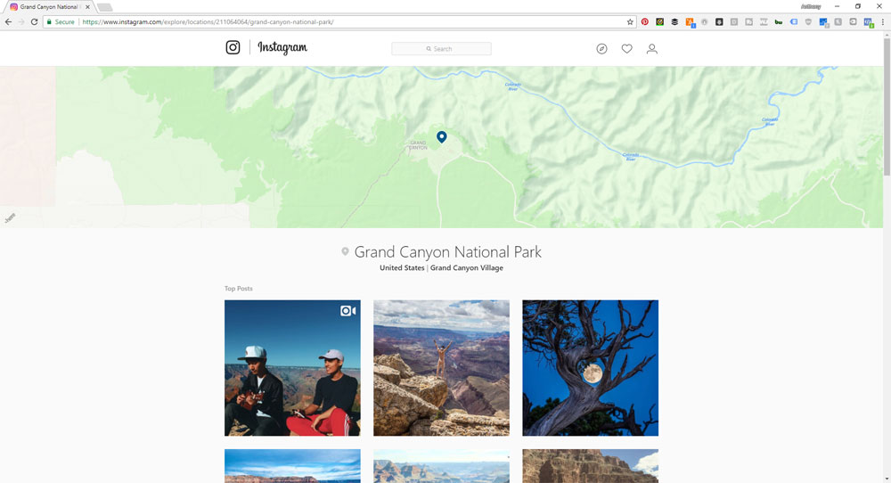 instagram for finding great content to post on facebook, screen shot of the search for grand canyon on instagram for finding facebook content