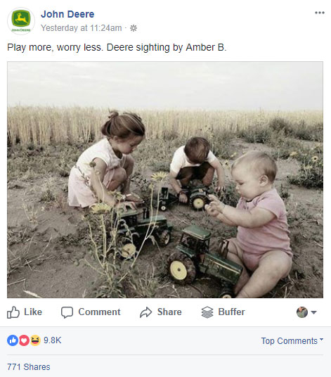 screen shot of the john deere facebook post status about playing more and worrying less with kids playing in the dirt