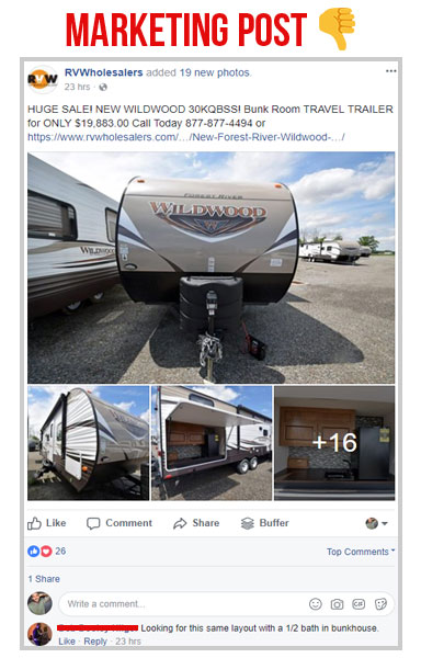 marketing facebook post screen shot of a wildwood rv for sale on the rv wholesalers facebook page, social post vs marketing post