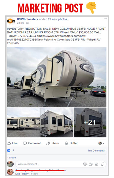 facebook marketing post on rv wholesalers facebook page about a columbus fifth wheel rv for sale