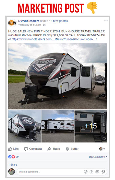 facebook marketing post on the rv wholesalers page about the fun finder travel trailer with a bunkhouse, screen shot of the rv wholesalers facebook page with a post with the fun finder travel trailer