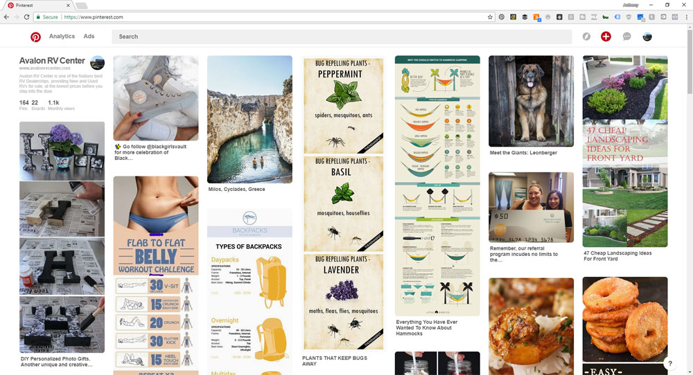 screen shot of the pinterest homepage for great places to find content for facebook