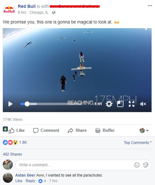 screen shot of a red bull facebook post for a social post