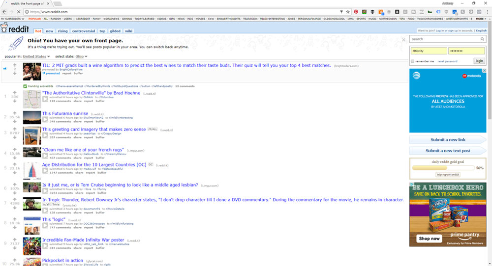 screen shot of the homepage of reddit to show places to find content to post on facebook