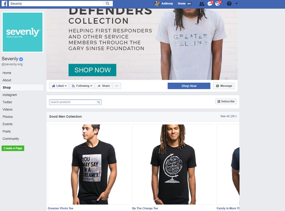 sevenly facebook page shop, screen shot of the sevenly facebook page store with pictures of the clothing for sale on facebook