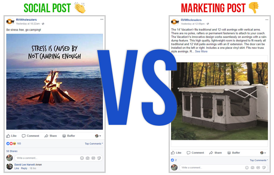 social facebook post vs a marketing facebook post with screen shots of both sitting next to each other with vs in huge blue letters in the center