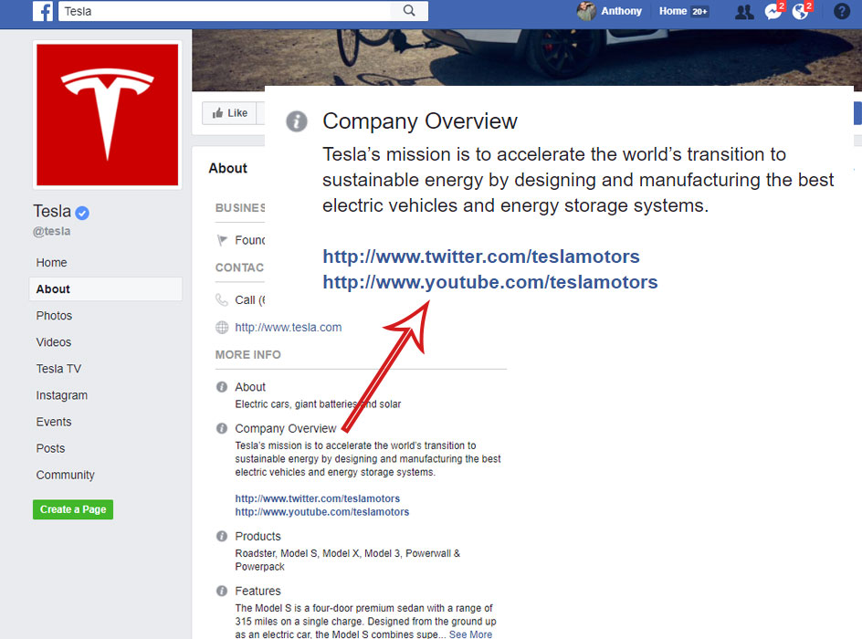 tesla facebook page with the company overview info highlighted, screen shot of the tesla facebook page company overview section with the business info blown up to be larger in the foreground
