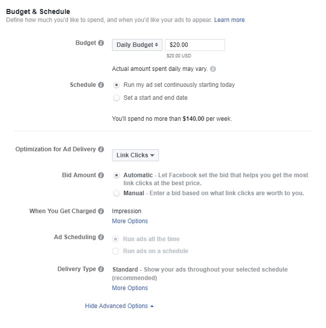 screen shot of the budget and schedule section for facebook ads power editor