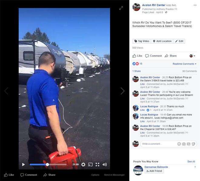 screen shot of a facebook live video from avalon rv center