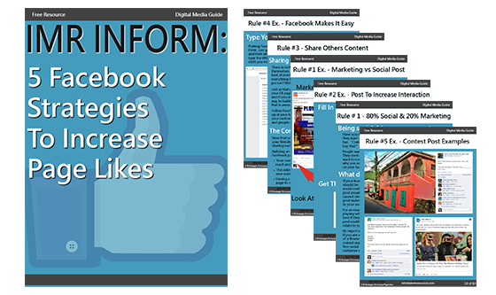 picture of a free ebook about 5 strategies to increase page likes imr inform digital marketing agency resource