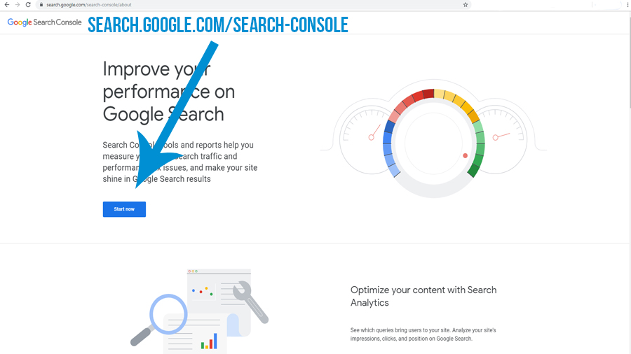 showing the google search console start now to improve search results