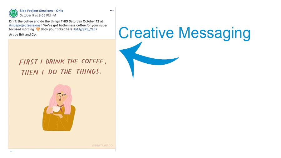social media post of a cartoon drinking coffee